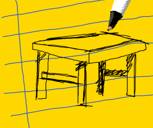 Sketch of a table on notebook paper
