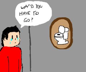 Man misses the toilet