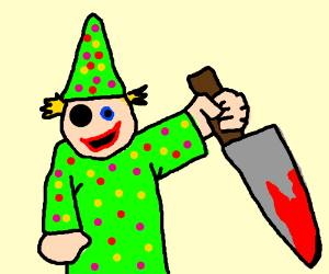 childs play puppet holds bloody knife