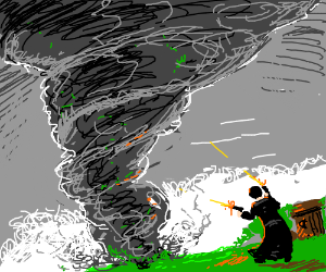 man dual-wielding pistols vs tornado