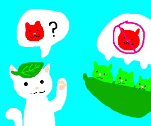 Where's red cat? Pea pod cat doesn't know