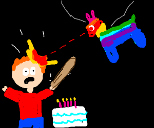 Lazer pinata zaps birthday boy