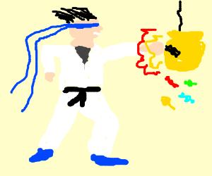 Blind Kung Fu man beats up rich kid.