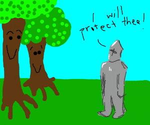 Knight swears to protect trees