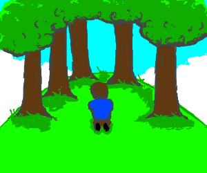 But, he was all alone on a tree-covered hill.