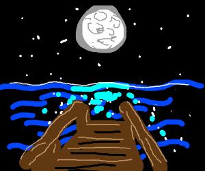 Full moon over the dock.