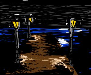 A pier on an never ending ocean at night