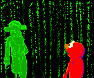Elmo finds green pirate in the Matrix