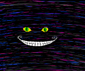 Cheshire Cat's glowing eyes, smile in the dark