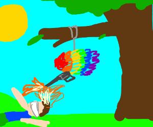 Rainbow pinata lights kid's hair on fire