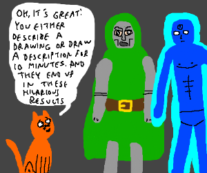 Cat tells Dr. Doom and Dr. Manhattan about DC