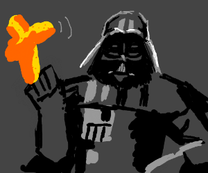 Darth Vader uses the force to eat giant cheeto
