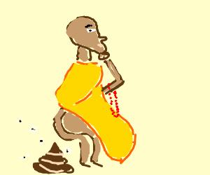 Devout monk contemplates a sacred turd.
