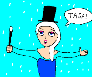 """Elsa from """"Frozen"""" doing some ice magic stuff."""