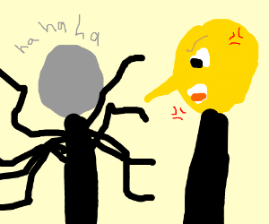 Slenderman laughs at angry Lemongrab