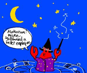A crab spellcaster at night