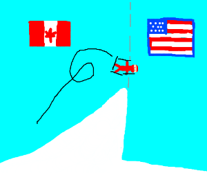 Skiing over the US-Canada border