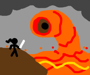 A ninja about to be eaten a by a lava worm