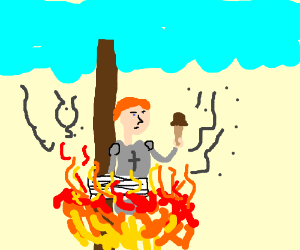The burning of Joan of Arc but with ice cream