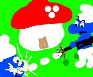 Marshmallow smurf wields an assault rifle