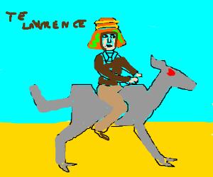 T.E. Lawrence rides a robot camel