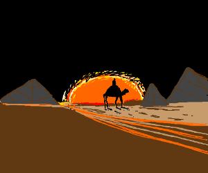 Riding a camel through the desert