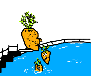 Pregnant carrot is giving birth in the pool