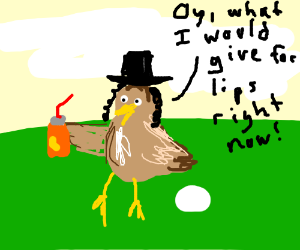Jewish chicken try to drink some juice