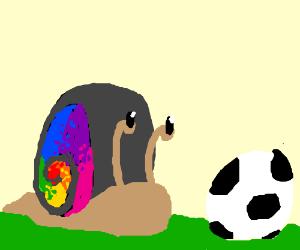 A rainbow snail playing football