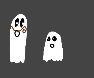 Dad ghost with mustache looking at his child