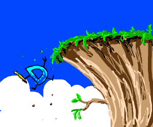 Drawception falling off a cliff