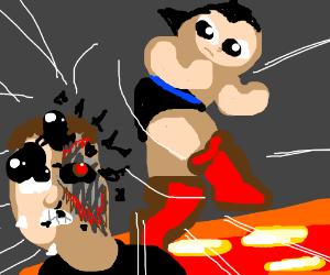 Astroboy fights Terminator over a lava dam.