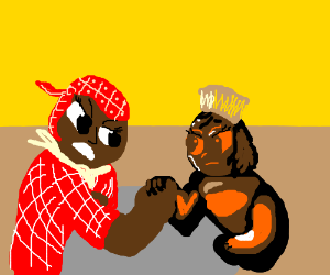 Aunt Jemima and Mrs. Butterworth arm wrestling