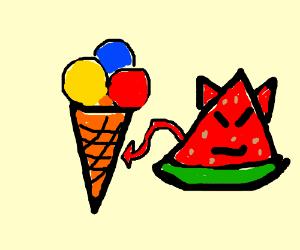 Devil melon cone ice cream