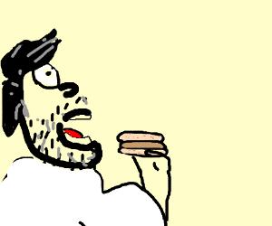 Mr bob eating a hamburger