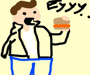 fat fonz eats a chicken sandwich