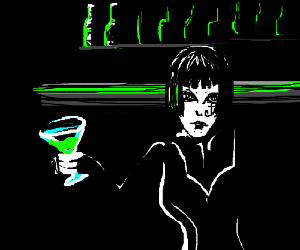 Gothic chick at a bar holding girly martini