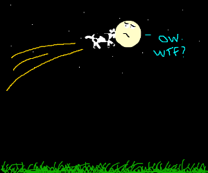 Cow jumps into the moon