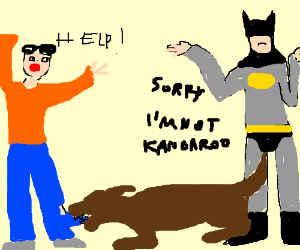 Batman is not kangaroo, cant save man from dog