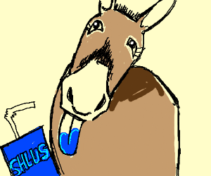 Mule drinks a blue Slushie, spits it out.