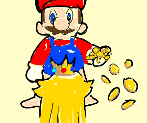 Super Mario - A fistful of golden coins.