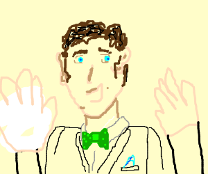 Well-dressed man w/ big hands and lopsided ear