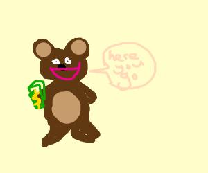 Brown bear happily handing you money