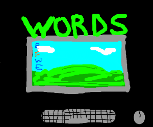 A computer screen with green words on it