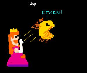 An angry princess throws Pac-thulhu.