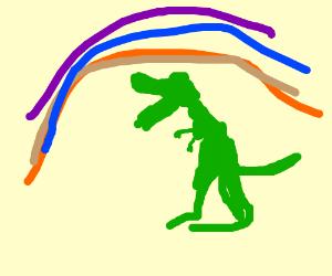 dino under a rainbow