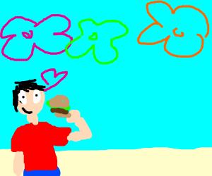 man loves hamburger under the ocean