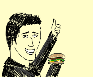 The fonz eating a burger