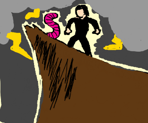 Worm versus evil man on dramatic cliff