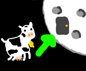 A cow jumping into the moon